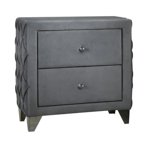 Sandboard 2-Drawer Button Tufted Nightstand Grey