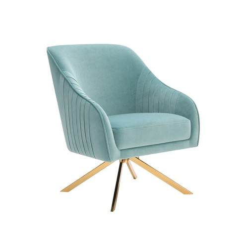 Sloped Arm Upholstered Accent Chair Light Teal And Brass