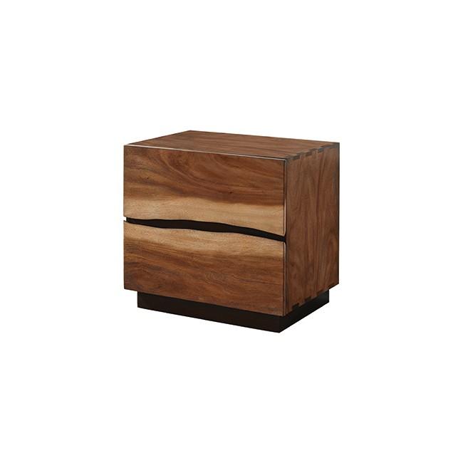 Winslow 2-Drawer Nightstand Smokey Walnut And Coffee Bean