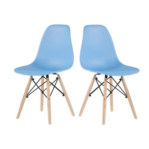 Light Blue simple fashion leisure plastic chair environmental protection PP material thickened seat surface solid wood leg dress