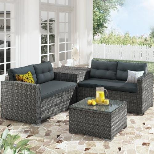 U_STYLE Outdoor Furniture Sofa Set with Large Storage Box