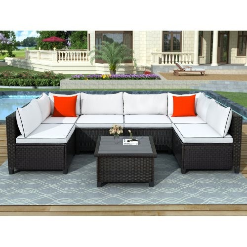 U-style Quality Rattan Wicker Patio Set, U-Shape Sectional Outdoor Furniture Set with Cushions and Accent Pillows