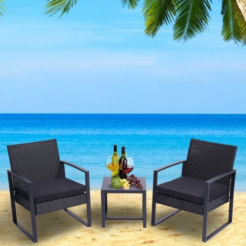 3 Pieces Patio Set Outdoor Wicker Patio Furniture Sets Modern Set Rattan Chair Conversation Sets with Coffee Table for Yard and