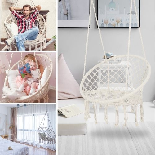 Hammock Chair Macrame Swing Max 330 Lbs Hanging Cotton Rope Hammock Swing Chair for Indoor and Outdoor