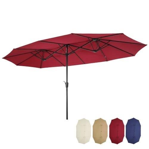 15x9ft Large Double-Sided Rectangular Outdoor Twin Patio Market Umbrella w/Crank-burgundy