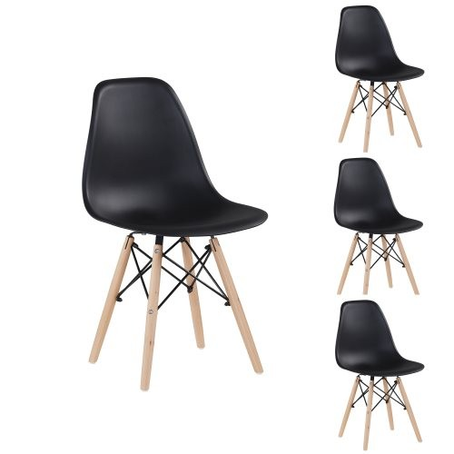 Black simple fashion leisure plastic chair environmental protection PP material thickened seat surface solid wood leg dressing s