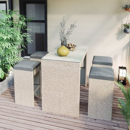 Topmax 5-piece Rattan Outdoor Patio Furniture Set Bar Dining Table Set with 4 Stools, Gray Cushion