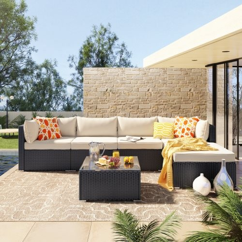 GO 6-Piece Patio Furniture Set corner sofa set with thick removable cushions, PE Rattan Wicker, outdoor Garden Sectional Sofa Ch