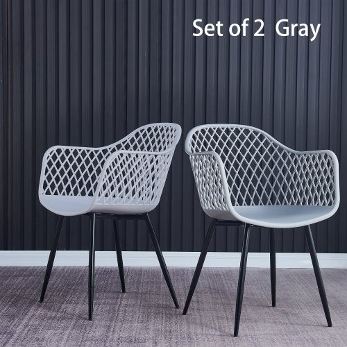Plastic dining chair for dining room, outdoor plastic chair (set of 2 Gray)