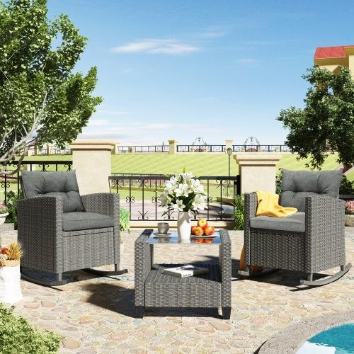 U_STYLE 3 Piece Rocking Patio Furniture Set, Wicker Rattan Outdoor Set with Cushions and Glass-Top Coffee Table for Garden Backy