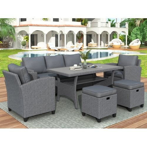 6-Piece Outdoor Rattan Wicker Set Patio Garden Backyard Sofa, Chair, Stools and Table
