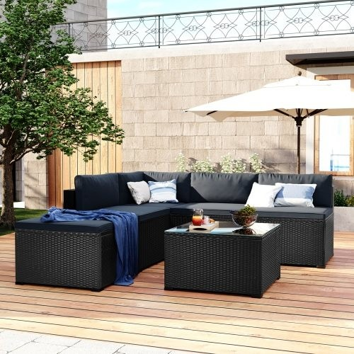 GO 6-Piece Outdoor Furniture Set with PE Rattan Wicker, Patio Garden Sectional Sofa Chair, removable cushions (Black wicker, Gre