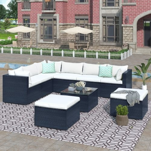 GO 9-piece Outdoor Patio PE Wicker Rattan conversation Sectional Sofa sets with 3 sofa, 3 corner sofa, 2 ottomans, and 1 glass c
