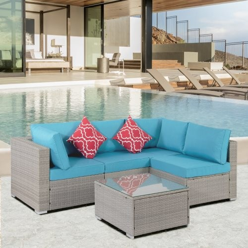 Outdoor Garden Patio Furniture 5-Piece PE Rattan Wicker Sectional Cushioned Sofa Sets with 2 Pillows and Coffee Table