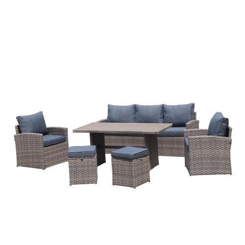 6-Piece Outdoor PE Rattan Sofa Set Patio Garden Wicker Dining and Coffee Sofa-Light Brown