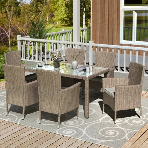 U_STYLE Outdoor Wicker Dining Set, 7 Piece Patio Dinning Table Beige-Brown Wicker Furniture Seating (Beige Cushions)