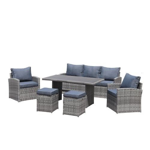 6-Piece Outdoor PE Rattan Sofa Set Patio Garden Wicker Dining and Coffee Sofa-Grey