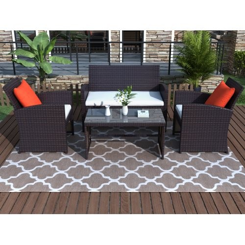 4 Pieces Outdoor Patio Set All-Weather Rattan Loveseat and Chairs with Tempered Glass Tabletop, Cushioned Seats for Garden, Lawn