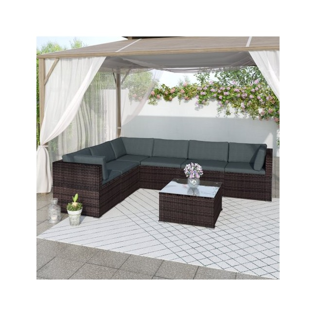 TOPMAX 7-Piece Patio Furniture Set Outdoor Sectional Conversation Set with Soft Cushions (Brown)