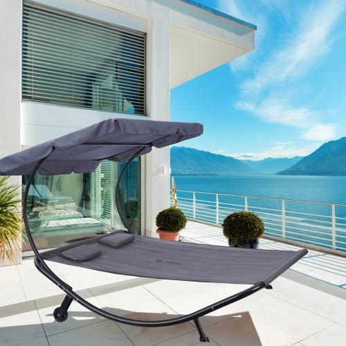 Outdoor Portable Double Chaise Lounge Hammock Bed With Adjustable Canopy and Headrest Pillow for Sun Room, Garden, Courtyard, Po