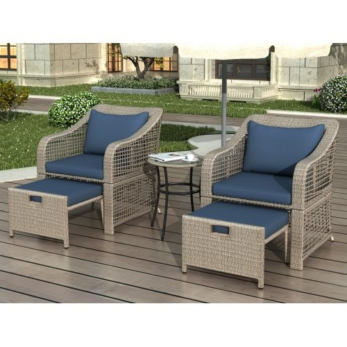 5-piece Outdoor Conversation Set Patio Furniture Set Bistro Set Rattan Wicker Chairs with Stools and Tempered Glass Table