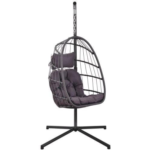 In door outdoor patio Wicker Hanging Chair Swing Chair Patio Egg Chair UV Resistant Dark grey cushion Aluminum frame