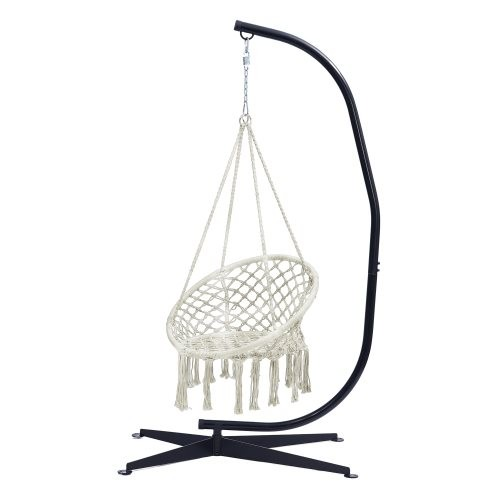 Hammock Chair with Stand - Indoor or Outdoor Use - Durable 300 Pound Capacity,Beige And Black