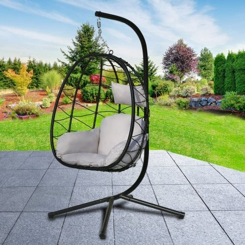 Swing Egg Chair, Hammock Chair, Hanging Chair, UV Resistant Cushion with Steel Stand, Indoor Outdoor Patio Porch Lounge Wicker R