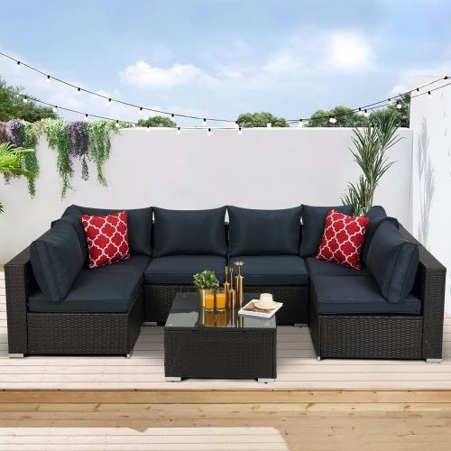 HIFINE-Outdoor Garden Patio Furniture 7-Piece PE Rattan Wicker Sectional Cushioned Sofa Sets with 2 Pillows and Coffee Table