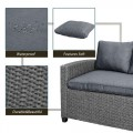 TOPAMX Patio Outdoor Furniture PE Rattan Wicker Conversation Set All-Weather Sectional Sofa Set with Table & Soft Cushions (Grey