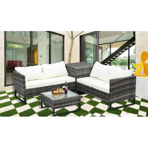 4-Piece With Storage Box Outdoor Conversation Set Rattan Patio Furniture Set Bistro Set Sofa Chairs with Coffee Table (Mixed Gra