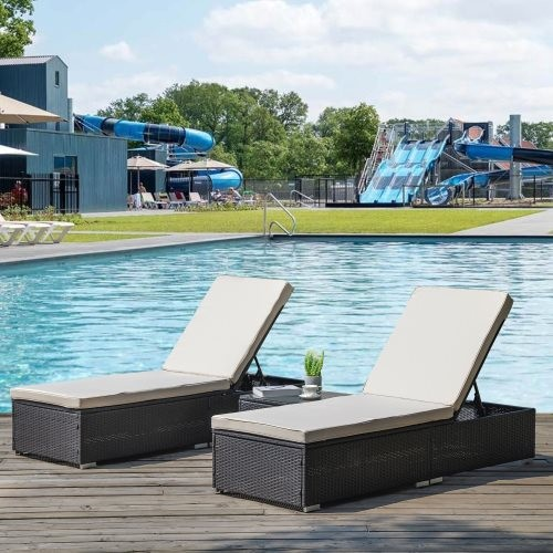 Outdoor Garden 3 Piece Wicker Patio Chaise Lounge Set Adjustable PE Rattan Reclining Chairs with Cushions and Side Table.
