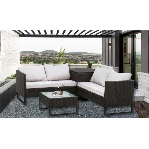 4-Piece With Storage Box Outdoor Conversation Set Rattan Patio Furniture Set Bistro Set Sofa Chairs with Coffee Table (Brown+Lig