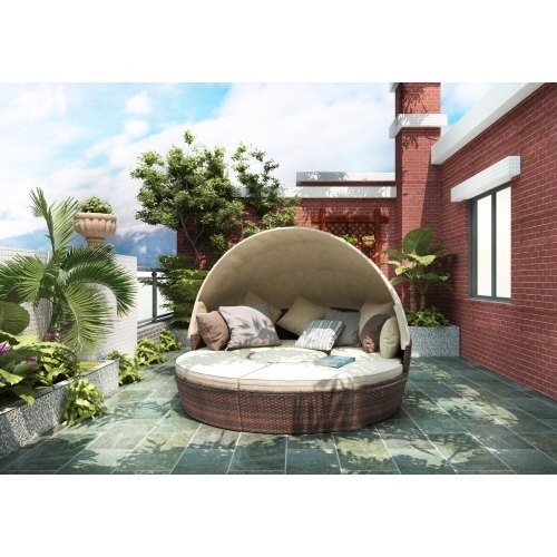TOPMAX Patio Furniture Round Outdoor Sectional Sofa Set Rattan Daybed Sunbed with Retractable Canopy, Separate Seating and Remov