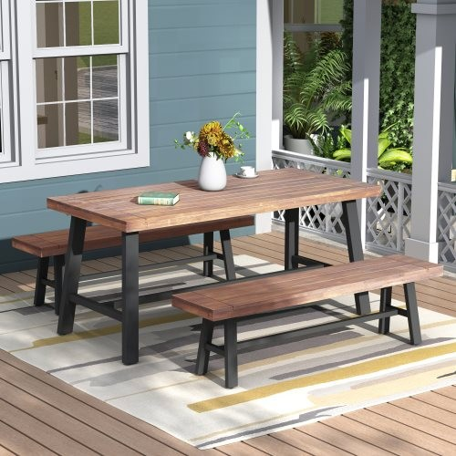 U_STYLE Outdoor Table and Bench Set , Solid Wood, Walnut