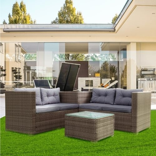 4 Piece Patio Sectional Wicker Rattan Outdoor Furniture Sofa Set with Storage Box Grey