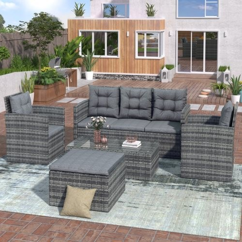 TOPMAX 5-piece Outdoor UV-proof Patio Sofa Set with Storage Bench All Weather PE Wicker Furniture Coversation Set with Glass Tab