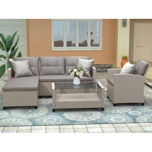 U_STYLE Living room,Outdoor, Patio Furniture Sets, 4 Piece Conversation Set Wicker Ratten Sectional Sofa with Seat Cushions(Beig