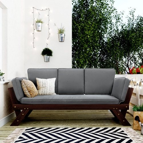 TOPMAX Outdoor Adjustable Patio Wooden Daybed Sofa Chaise Lounge with Cushions for Small Places, Brown Finish+Gray Cushion
