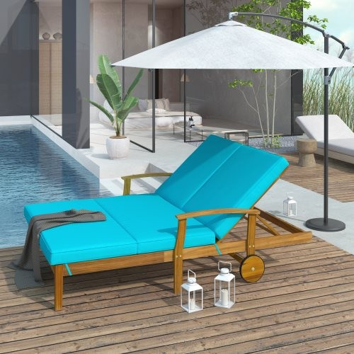 TOPMAX Outdoor Double Chaise Lounge Chair for 2 Persons Patio Backyard Solid Wood Frame Daybed with Cushion and Wheels, Natural