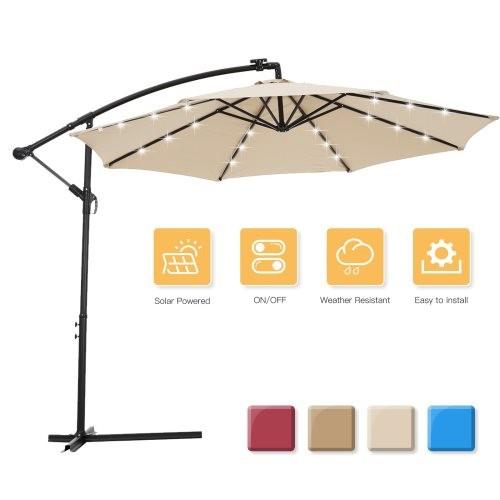 10 FT Solar LED Patio Outdoor Umbrella Hanging Cantilever Umbrella Offset Umbrella Easy Open Adustment with 24 LED Lights - tan