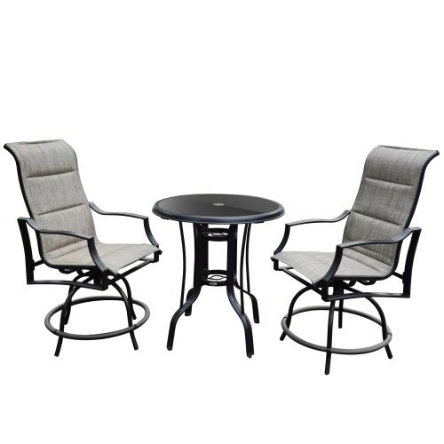 glass round bar table and textlene swivel bar chair set for Alu.On Shine 3 PCS Outdoor Furniture Patio Swivel Bar Set Height Pat
