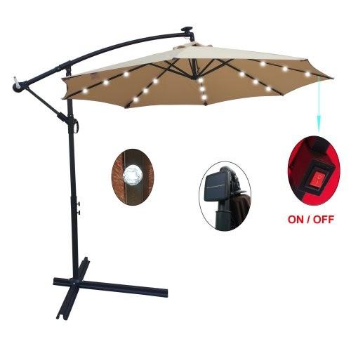 Tan 10 ft Outdoor Patio Umbrella Solar Powered LED Lighted Sun Shade Market Waterproof 8 Ribs Umbrella with Crank and Cross Base