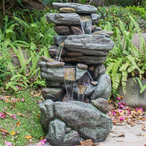 """Outdoor 5-Tier Floor Rack Water Fall Fountain with White LED Light for Patio Yard Garden Lawn-40.15"""""""