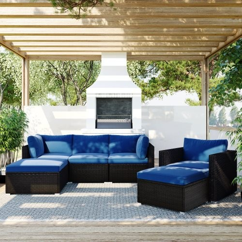 TOPMAX 6PCS Outdoor Patio Sectional All Weather PE Wicker Rattan Sofa Set with Glass Table, Blue Cushion+ Brown Wicker