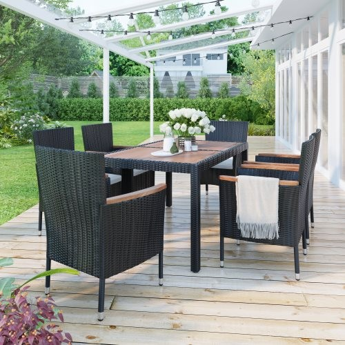 7-Piece Outdoor Patio Dining Set, Garden PE Rattan Wicker Dining Table and Chairs Set, Acacia Wood Tabletop, Stackable Armrest C