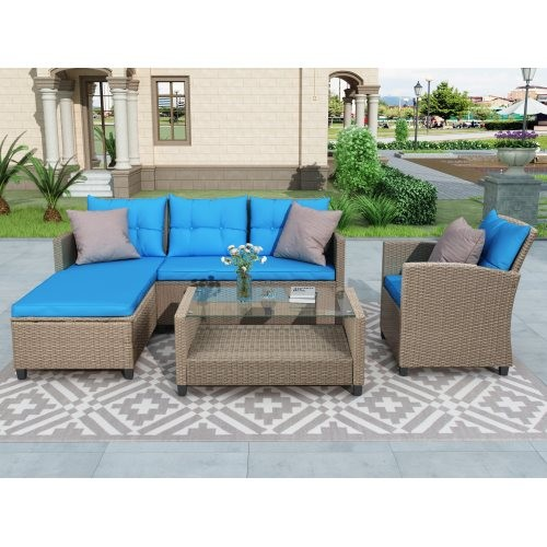 U_STYLE Living room,Outdoor, Patio Furniture Sets, 4 Piece Conversation Set Wicker Ratten Sectional Sofa with Seat Cushions