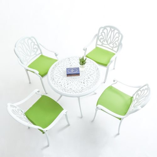 Upland Outdoor Furniture 5-Piece Cast Aluminum Patio Dining Set with Cushions-White