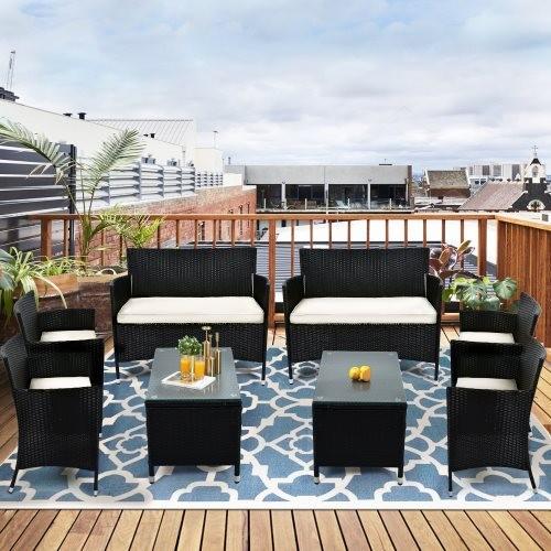 TOPMAX 8 PCS Patio Furniture Outdoor Garden Conversation Wicker Sofa Set, Beige Cushions +Black Wicker