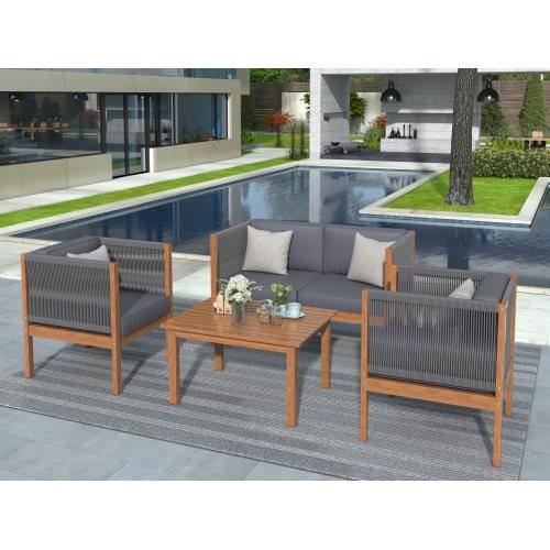 U_STYLE Acacia Wood Outdoor Sofa Seating 4-Pcs Set with Parachute Cord Arm and Grey Cushions